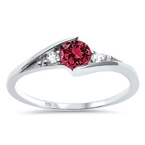 925 Sterling Silver Ruby Ring Size 8.5